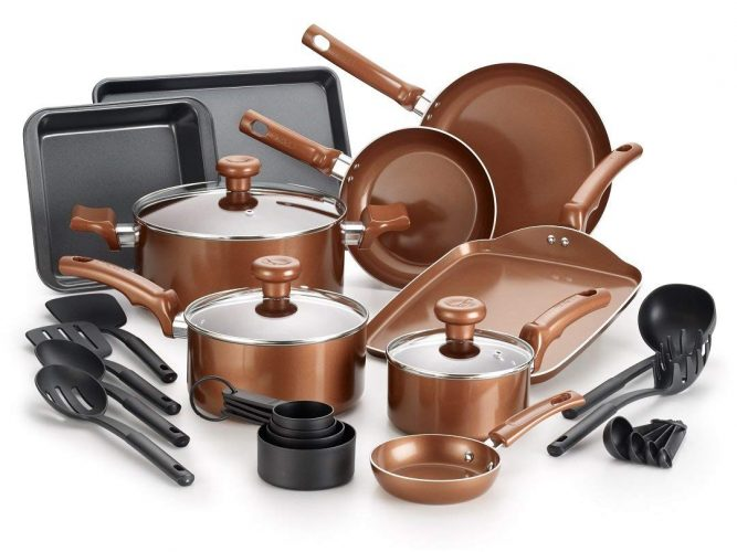T-fal Copper Ceramic Cookware and Bakeware Set
