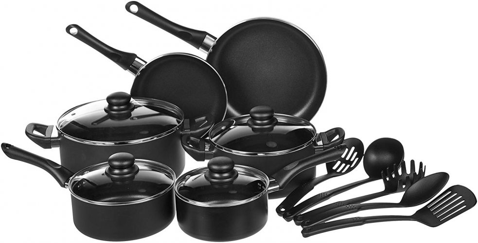 Amazon Basics 15-Piece Cookware Set