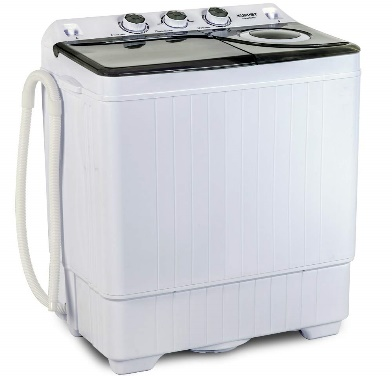 KUPPET Compact Twin Tub Portable Mini Washing Machine 26lbs Capacity, Washer(18lbs)&Spiner(8lbs)/Built-in Drain Pump/Semi-Automatic (White&Gray)B07TDP2MMQ
