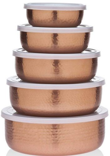 Godinger Copper Plated Mixing Bowls with Lids