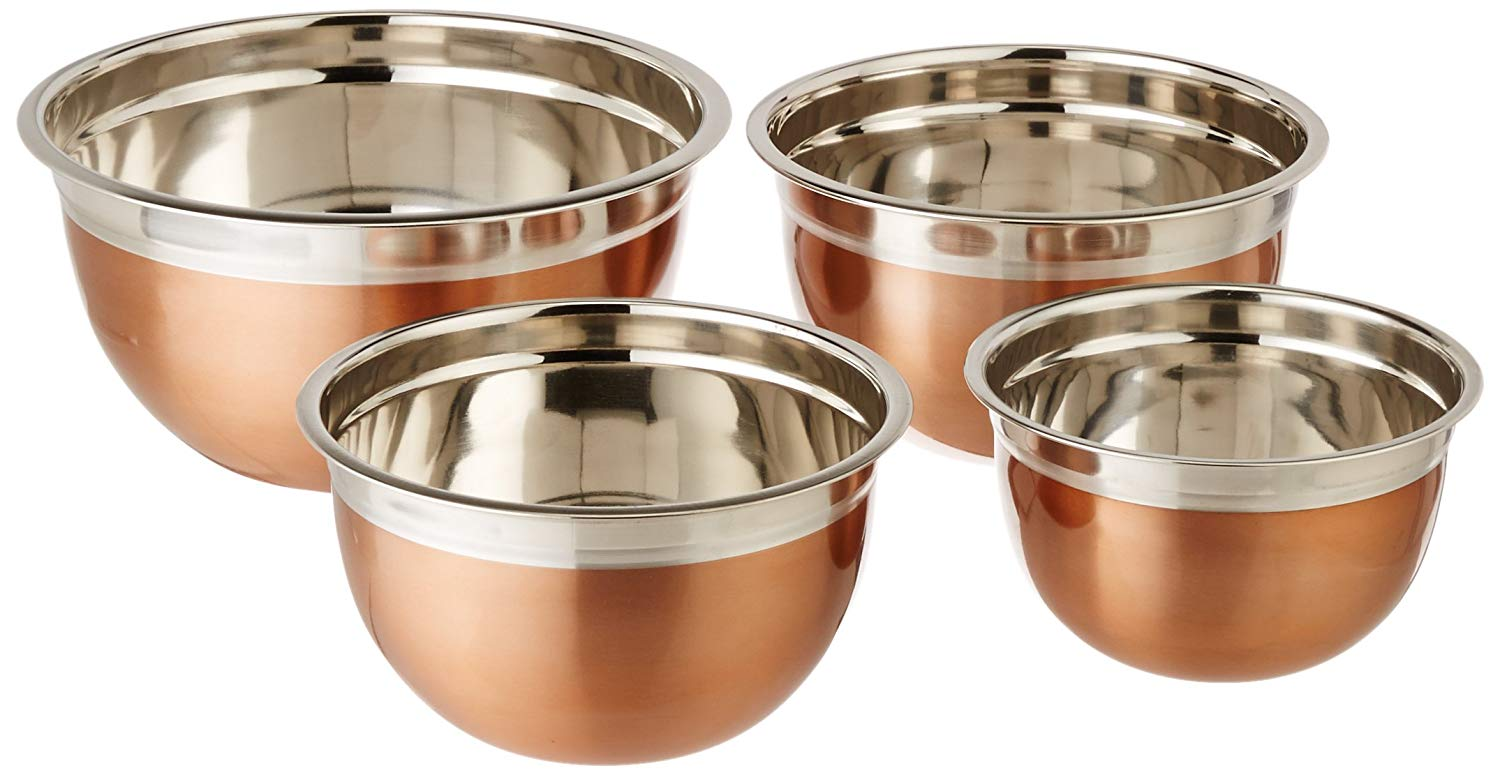 ExcelSteel Copper Tone Mixing Bowls