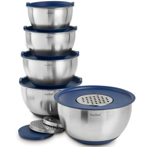 VonShef Nested Mixing Bowls with Lids - Mixing Bowls