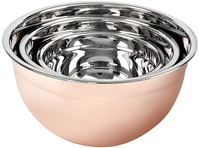 MUI France Copper and Stainless Steel Mixing Bowls
