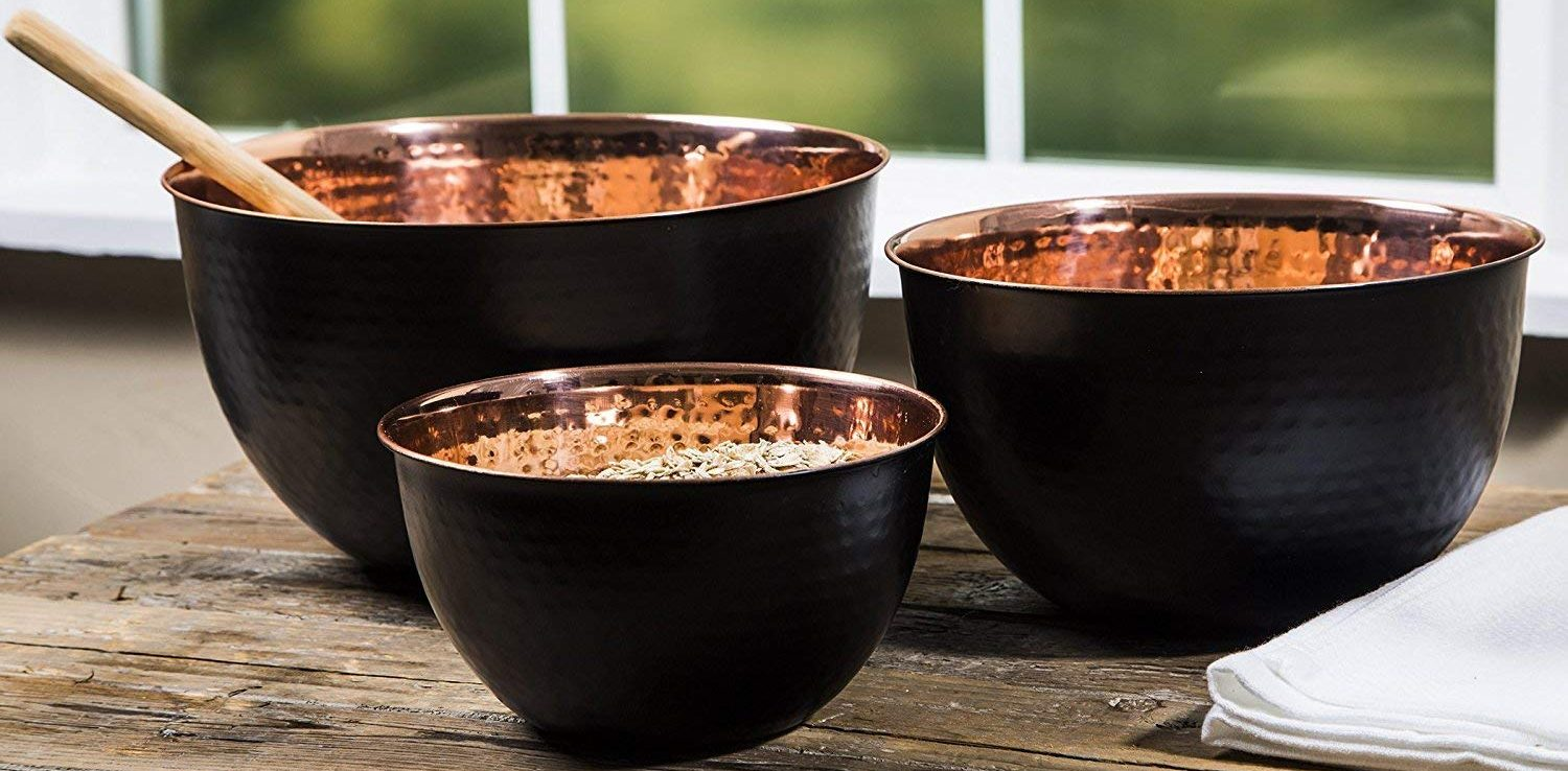 Le'raze Hammered Copper Plated Stackable Mixing Bowls