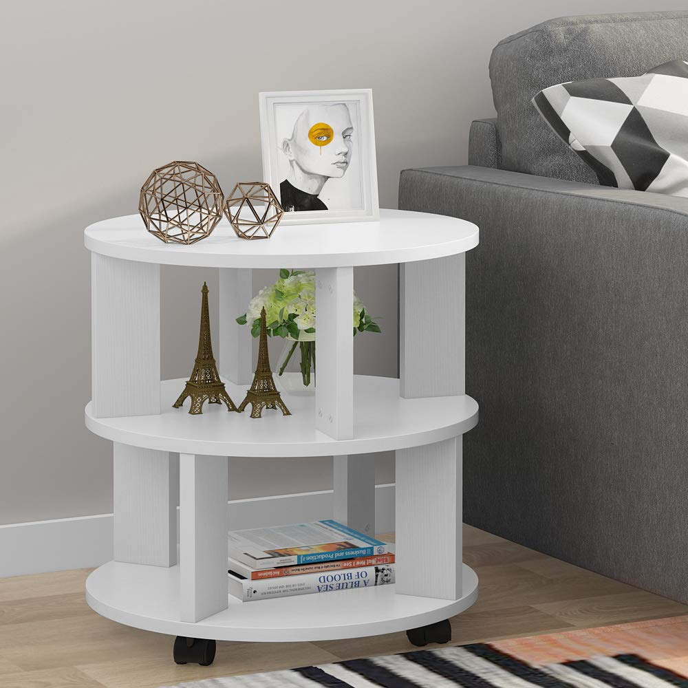 Tribesigns Modern End Table with Rolling Wheels - Modern Nightstands