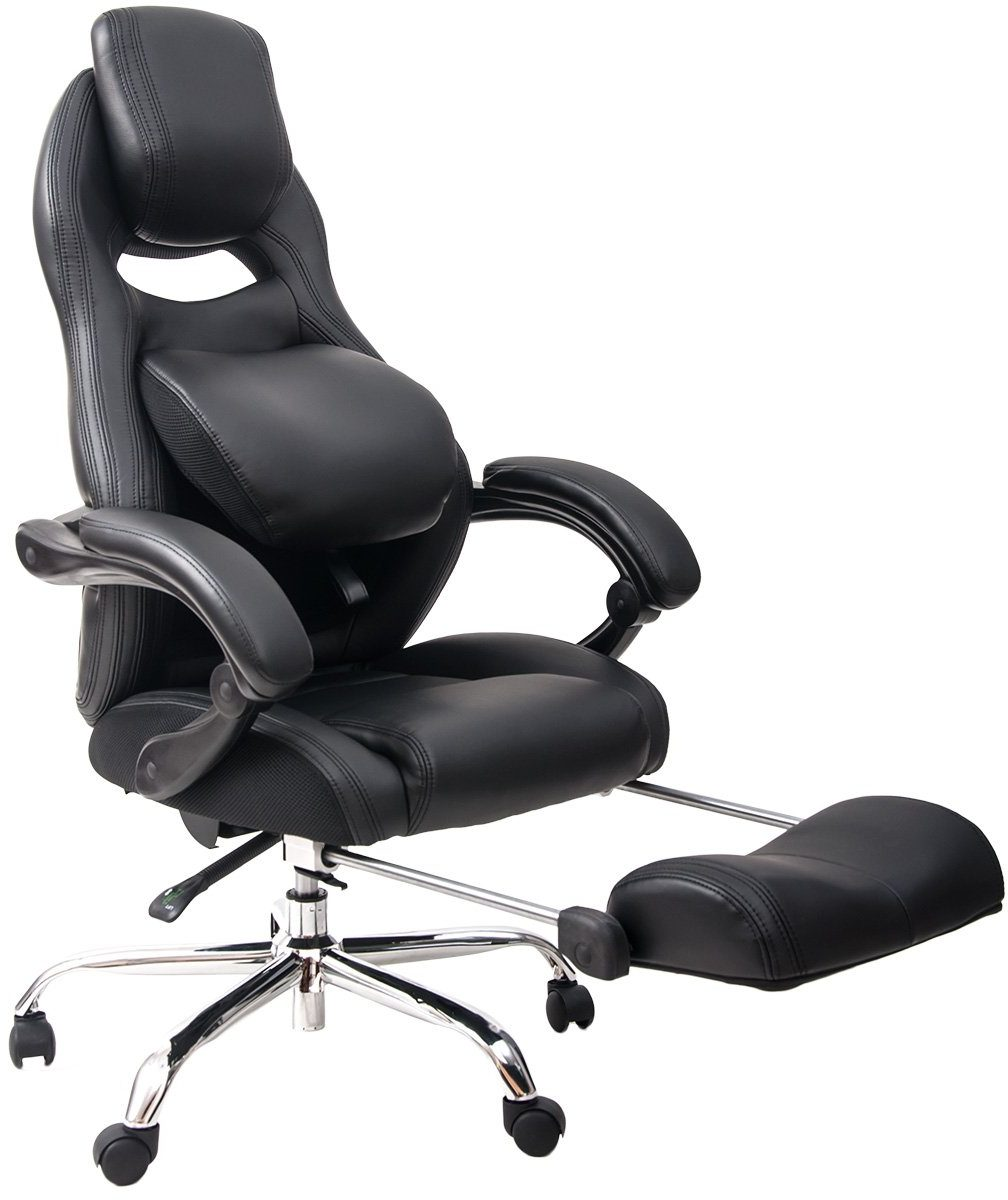 Merax Racing Style Executive PU Leather Swivel Chair Adjustable Pivoting Lumbar and Padded Footrest (Balck and Grey)