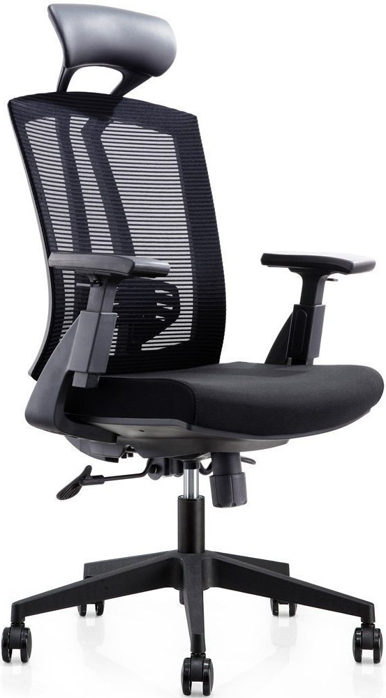 CUBOC 24 Hour High Back Mesh Office Reclining Ergonomic Chair with Leather Headrest and Flexible PU Armrest, Big & Tall Modern Executive Chair for Home Office Conference Room, Black