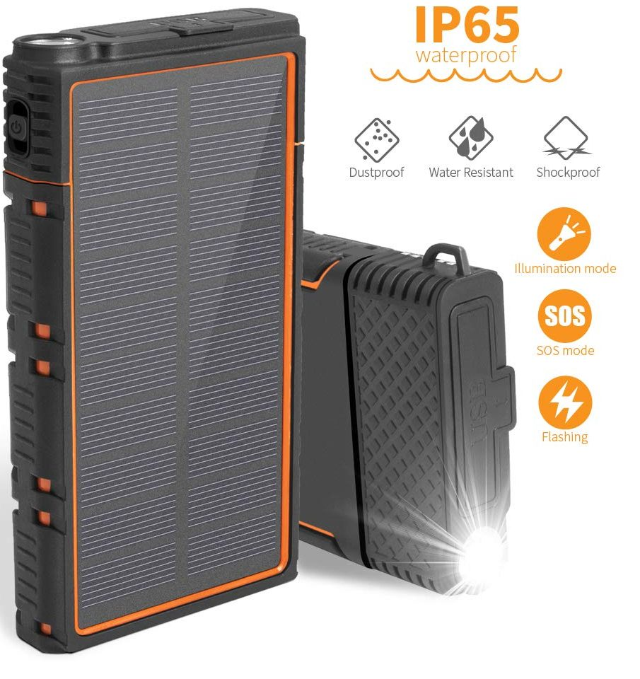 Solar Charger Power Bank Zonhood 15000mAh - Solar Charging Power Banks