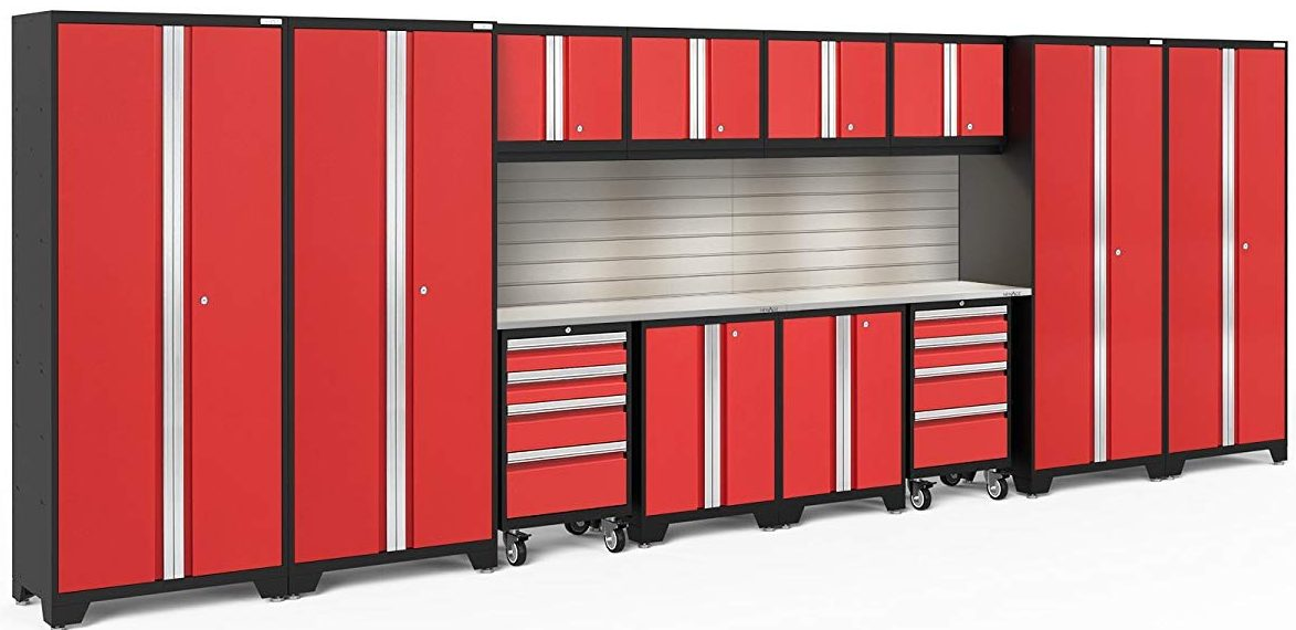 NewAge Products Bold 3.0 Garage Storage Cabinet Set with Stainless Steel Worktop - Garage Storage Cabinets