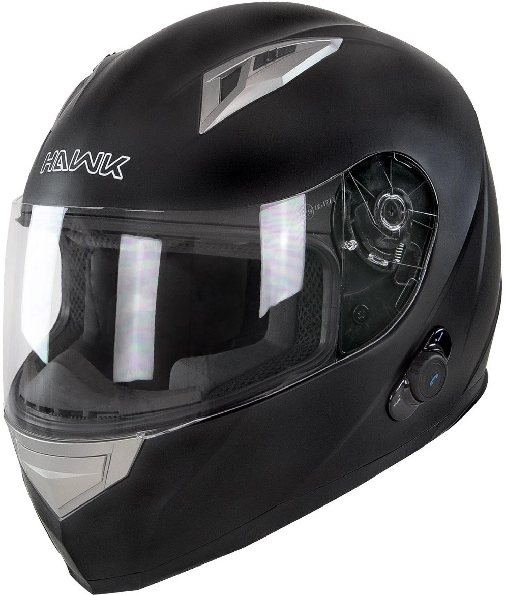 Hawk H-500 Flat Black Bluetooth Full Face Helmet - X-Large