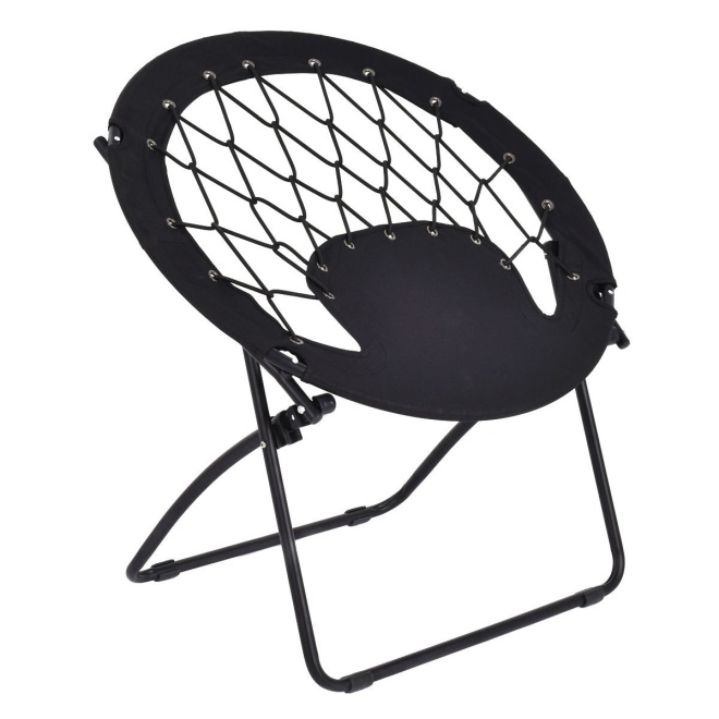 NanaPluz Black Round Folding Patio Outdoor Camping Bungee Chair Garden Steel Frame Hiking Seat with Ebook