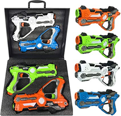 Liberty Imports Infrared Laser Tag 4 Players Game Set for Kids - Indoor Outdoor Multiplayer Toy Guns Battle Blasters Mega Pack with Carrying Case