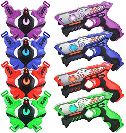 TINOTEEN Laser Tag Guns Set with Vests Infrared Guns Set of 4 Players