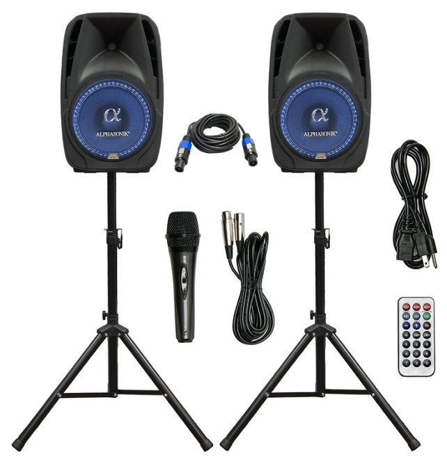 "Pair Alphasonik All-in-one 12"" Powered 1500W PRO DJ Amplified Loud Speakers"