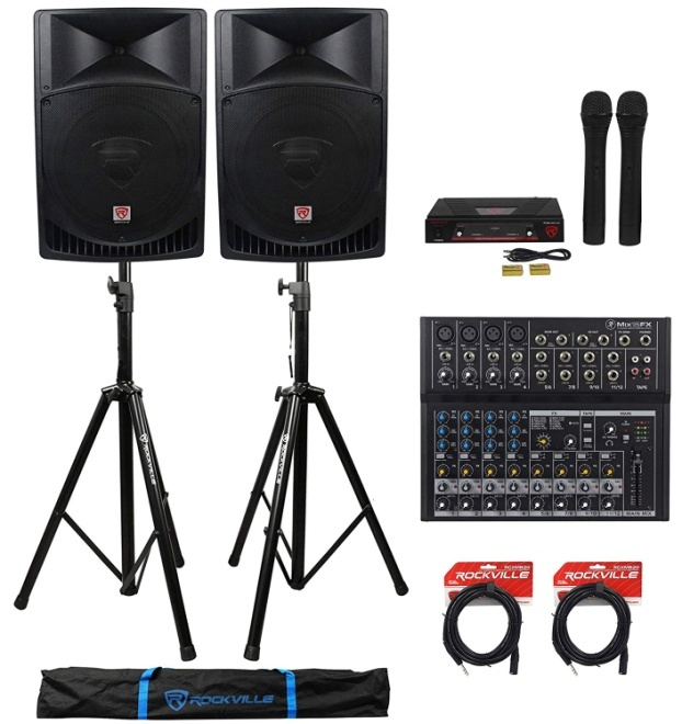 "Pair Rockville RPG15 15"" 2000w Powered PA/DJ Speakers"