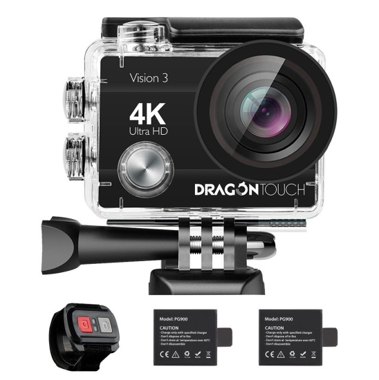 Dragon Touch 4K Action Camera 16MP Vision 3 Underwater Waterproof Camera 170° Wide Angle WiFi