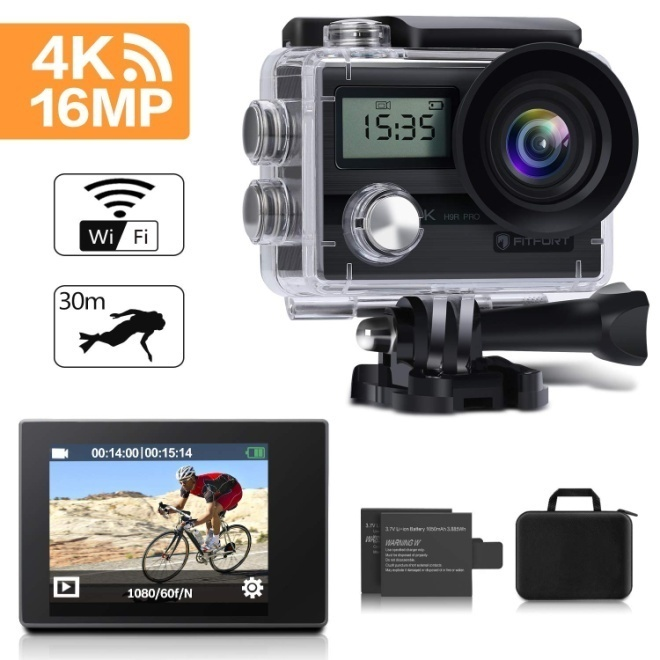 FITFORT H9R-01 Action Camera 4K Wi-Fi Ultra HD Waterproof Sports Camera 16 MP