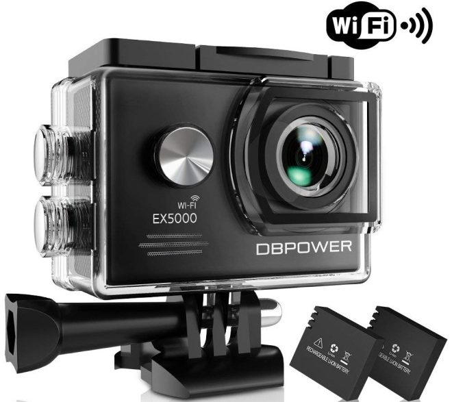 DBPOWER EX5000 Action Camera, 14MP 1080P HD WiFi Waterproof Sports Cam 2 Inch LCD Screen
