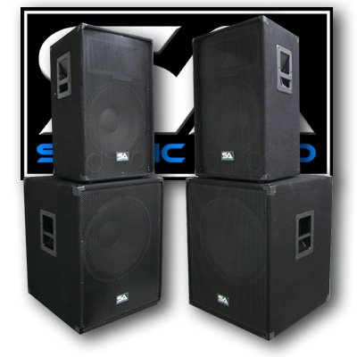"Seismic Audio Pair of 15"" PA DJ SPEAKERS 18"" SUBWOOFERS PRO AUDIO"
