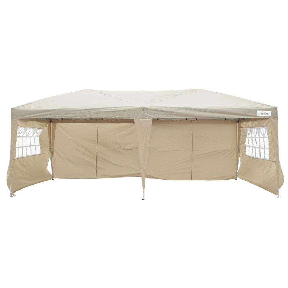 Goutime 10 by 20ft Ez Pop Up Canopy Tent with 4 pcs 10ft Removable Sidewalls and Wheeled Bag for Outdoor Party Events.