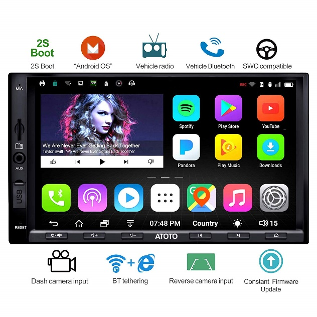 ATOTO A6 Android Car Stereo w/Dual Bluetooth & Quick Charge - Premium A6Y2721PB 2G/32G Universal Auto Entertainment Multimedia Radio,WiFi/BT Tethering Internet,Support 256G SD
