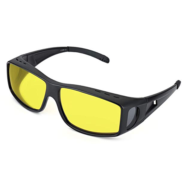 LVIOE Wrap Around Style Polarized Night Vision Driving Glasses to Fit Over Regular Prescription Glasses (Matte black, Yellow)