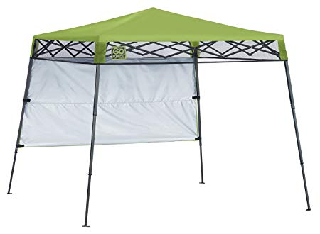 Quik Shade 7' x 7' Go Hybrid Pop-Up Compact and Lightweight Slant Leg Backpack Canopy, Bright Green