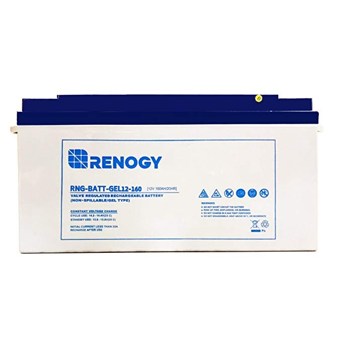 Renogy Deep Cycle Pure Gel Rechargeable 12 Volt 160Ah Battery for Use with Solar Panels, Smart Chargers, and Inverters
