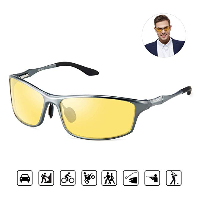 SOXICK HD Night Vision Driving Anti-Glare Glasses for Men Women Rainy Safe Polarized Fashion Sunglasses (Grey)