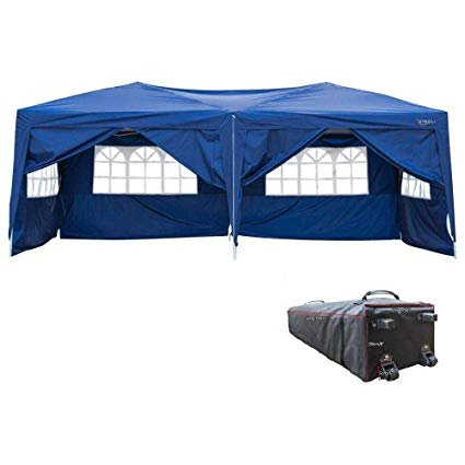 VINGLI 10'x20' EZ Pop Up Canopy Tent w/ 6 Removable Sidewalls, Blue Folding Instant Wedding Party Patio Event Gazebo,W/Rolling Carrying Case Bag