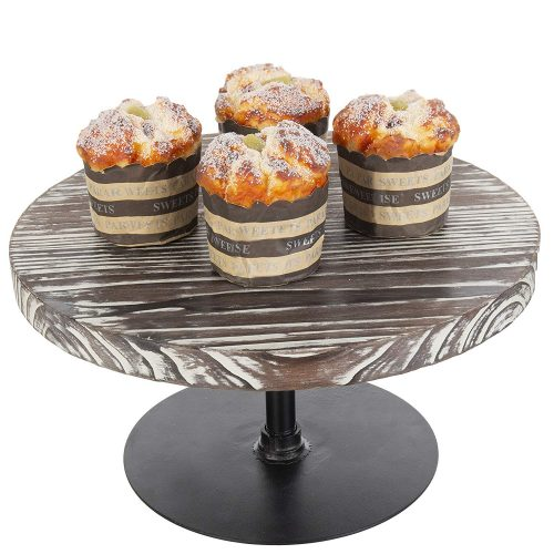 MyGift Torched Wood Cake Stands With Dome