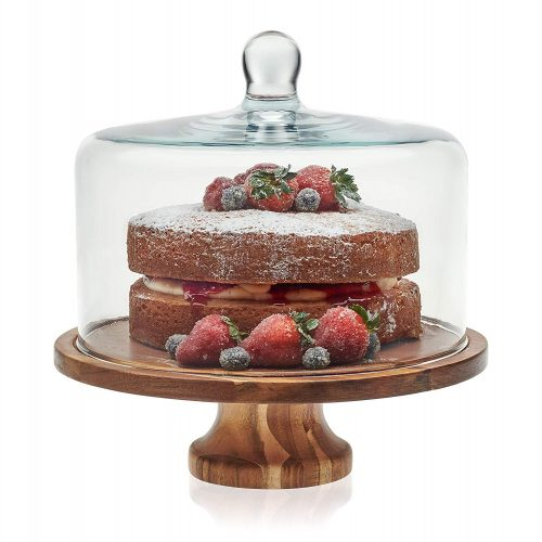 Libbey Acaciawood Cake Stands with Dome