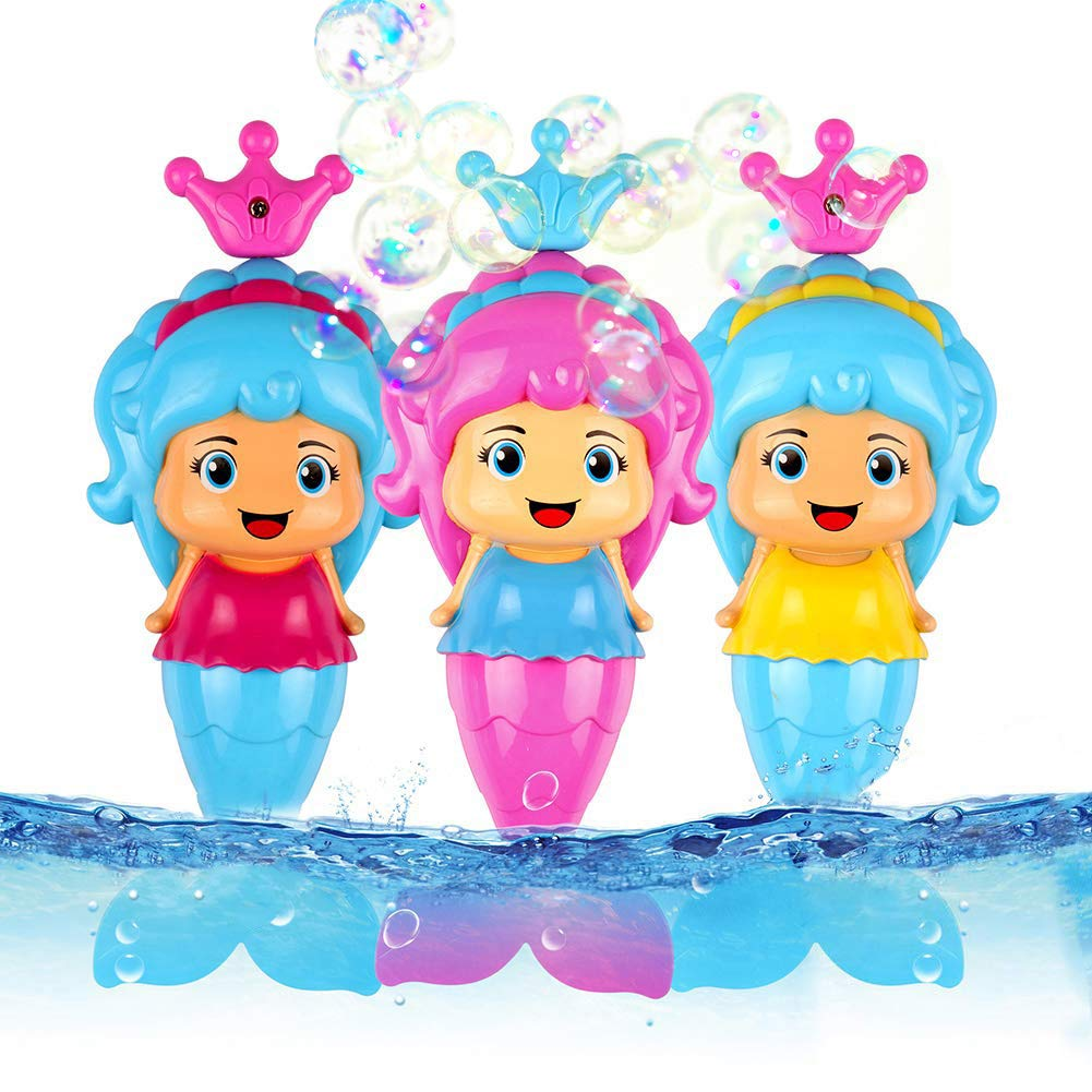 Conquer Baby - (3 Pack) Bath Toys for Toddlers Kids Girls - Mermaid Princess Wind Up Tail Flap Floating Water BathTub Toys, Swimming Pool Beach Bathing Time Fun - Random Colors B0788Z9QVK