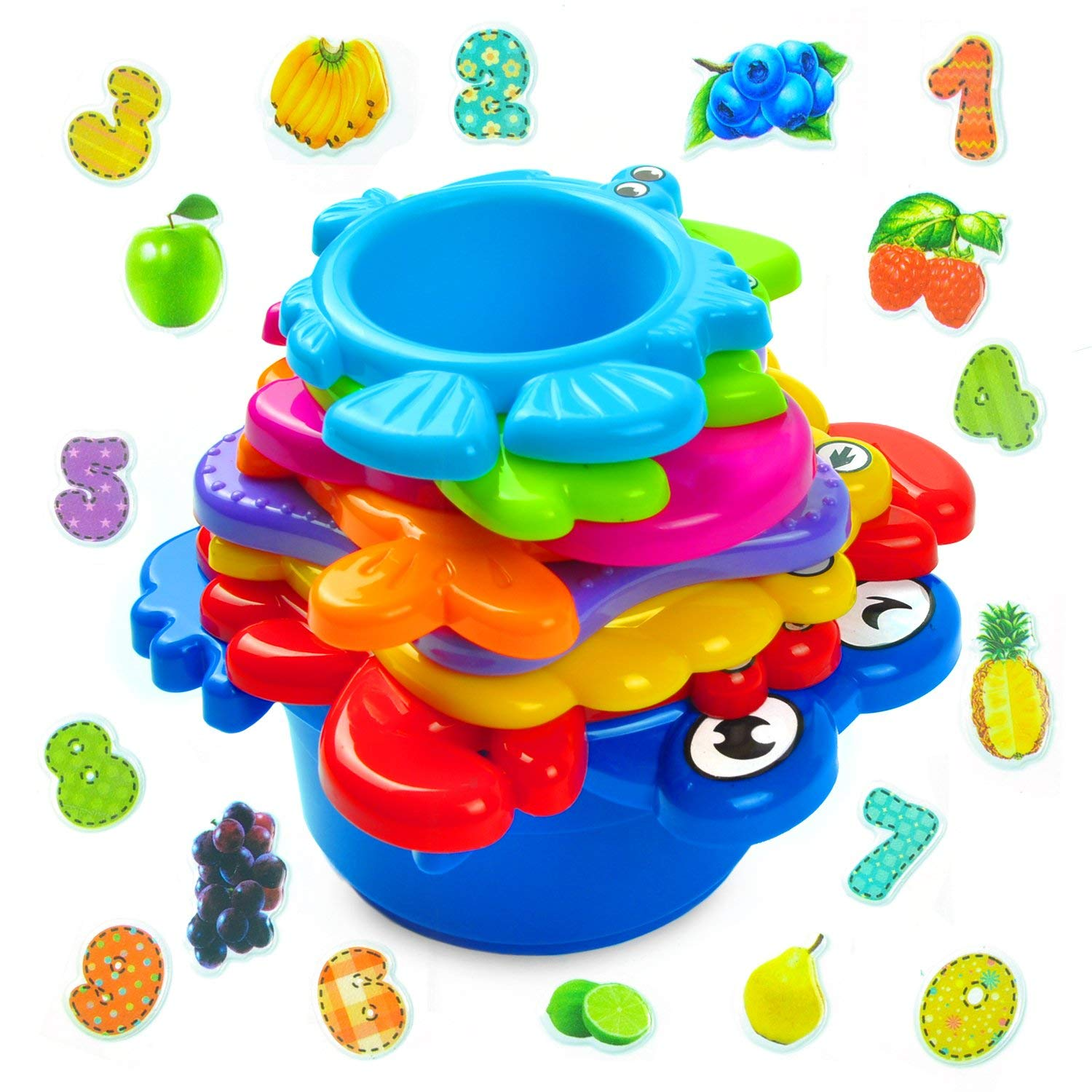 aGreatLife Stacking Cups Bath Toys for Toddlers: My First Under The Sea Animal Stacker with Holes for Sprinkling Water and Sifting Sand - Includes Fun and Brightly Colored Numbers and Fruits Stickers B01MQCKDKM