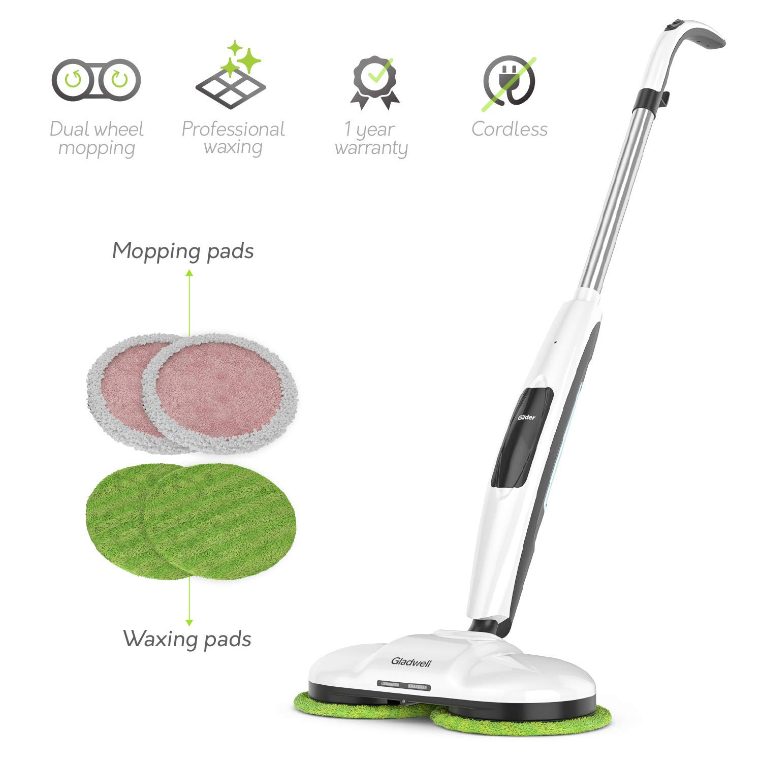 Gladwell Cordless Electric Mop 3-in 1 Spinner, Scrubber, Waxer Quiet and Powerful Cleaner Spin Scrubber & Buffer