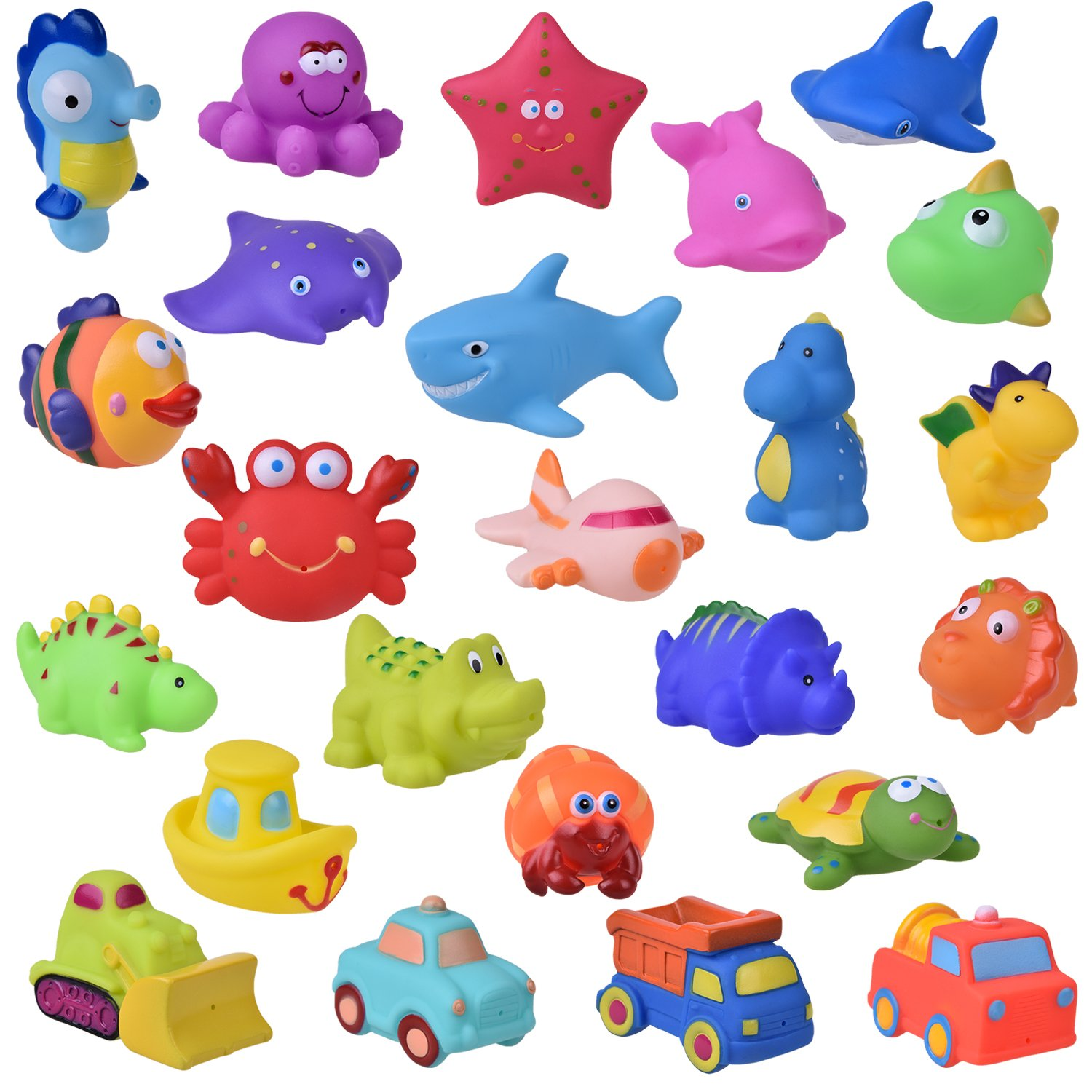 24 PCs Bath Toys for Toddlers, Sea Animals Squirter Toys Kids, Car Squirter Toys Boys, Bath Toy Organizer Included, Easter Basket Stuffers for Toddlers B07FPCM9VK