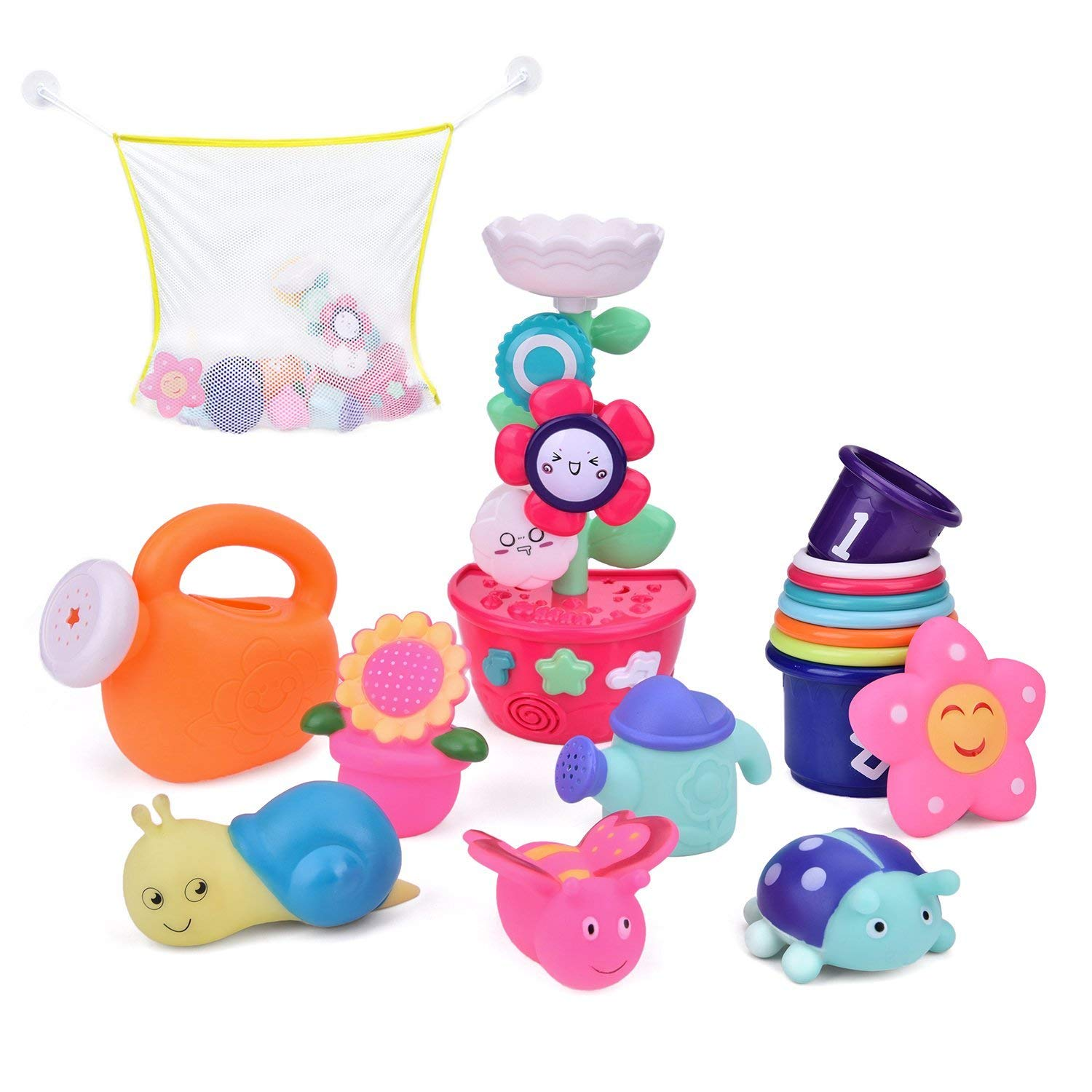 9 PCs Bath Toys Toddlers, Flower Waterfall Water Station Garden Squirter Toys, Stacking Cups Watering Can, Bath Toy Organizer Included Gift for Kids B07FPGL1CP