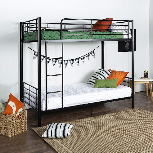 Walker Edison Metal Bunk Bed, Black