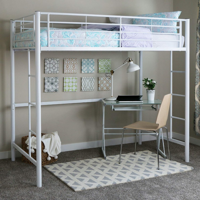 Walker Edison Metal Loft Bed, White