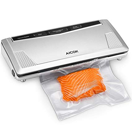 Vacuum Sealer Machine Adjustable Auto Vacuum Sealing System, Multi Purpose Food Preservation with Pulse Function and LED Indicator, plus Bonus Starter Kit for Food Savers and Sous Vide, Lab Tested, Aicok