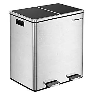songmics 16-gallon step trash can; Double Recycle pedal Bin,2x30l garbage