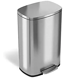 itouchless soft step 13.2 gal stainless steel step trash can pedal, bathroom bin