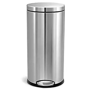Simple human 30L/8 Gallon Round step Trash CAN, Brushed Stainless steel