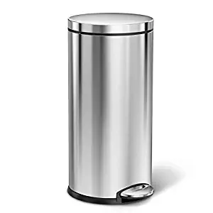 Simple human Round Step Trash Can Fingerprint-Proof Brushed Stainless Steel