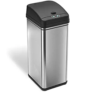 iTouchless 13 Gallon Stainless Steel Automatic Trash Can with Odor absorbing filters
