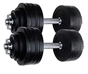 Dumbbells 2 by 52.5 LBS Adjustable Cast Iron Set Total 105lbs