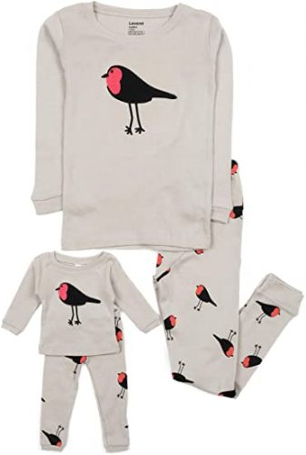 Leveret Girls Matching Doll & Kid 2 Piece Pajama Christmas