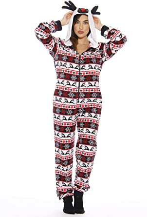 Just Love Holiday Reindeer Adult Onesie / Pajamas