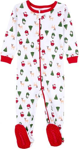 "Leveret ""Christmas"" Footed Pajama Sleeper 100% Cotton"