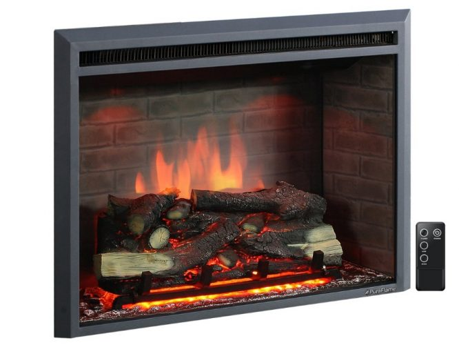 "PuraFlame 33"" Electric Fireplace Insert with a Remote Control- Fireplace Inserts"